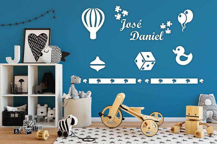 Kit Painel de Parede Brinquedos em MDF Branco - 09