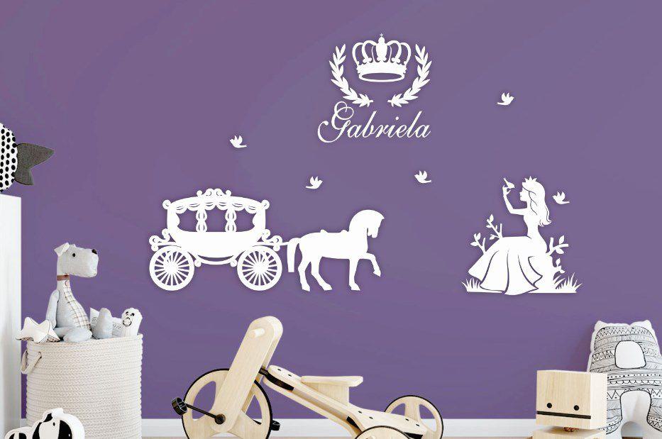 Kit Painel de Parede Princesas em MDF Branco - 08