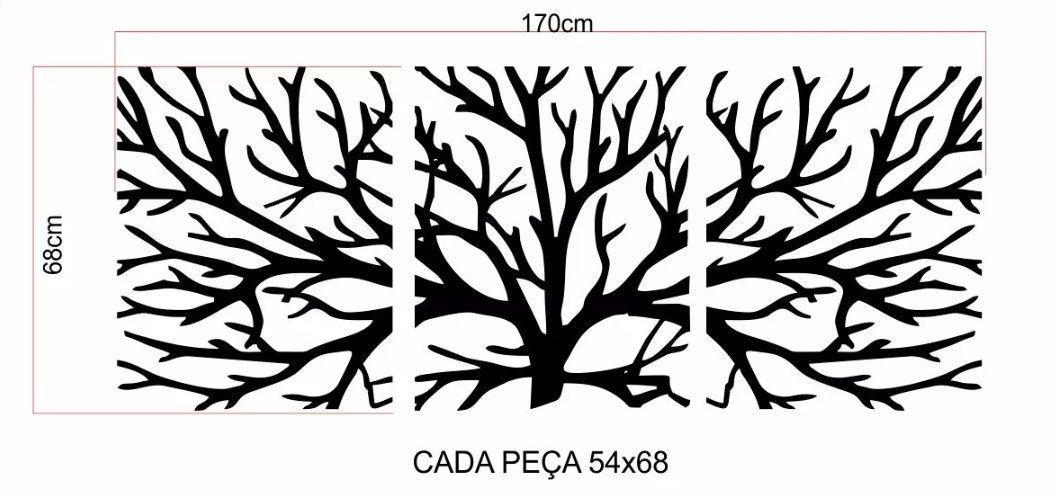 Quadro Decorativo Árvore Da Vida - 3 Pçs - 125cmx50cm - Preto - Ref. 13