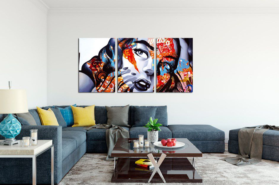 QUADRO DECORATIVO PINTURA ABSTRATA FACE - 42