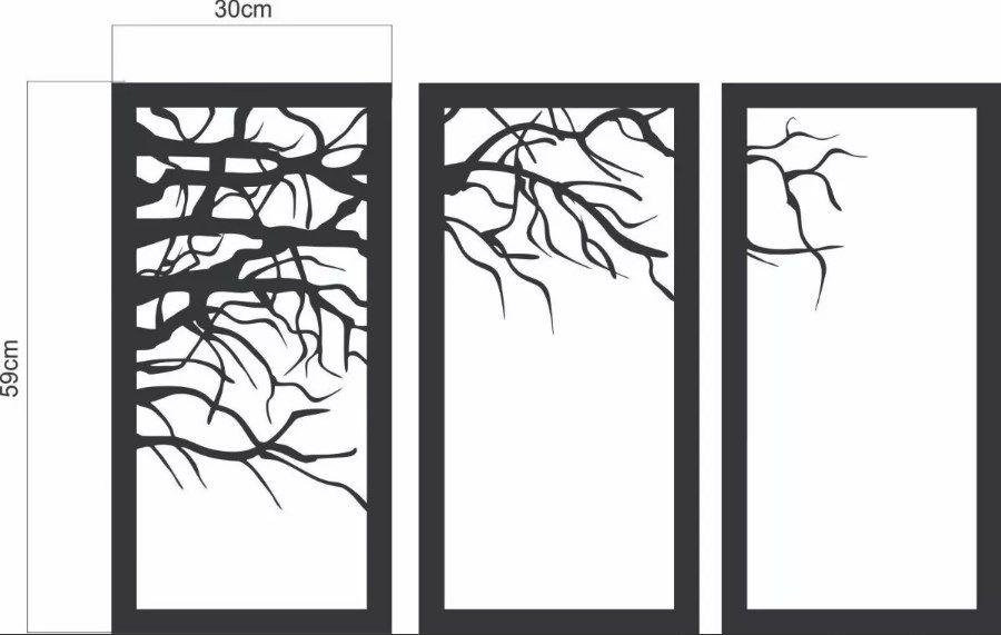 Trio Quadros Decorativo Árvore Seca