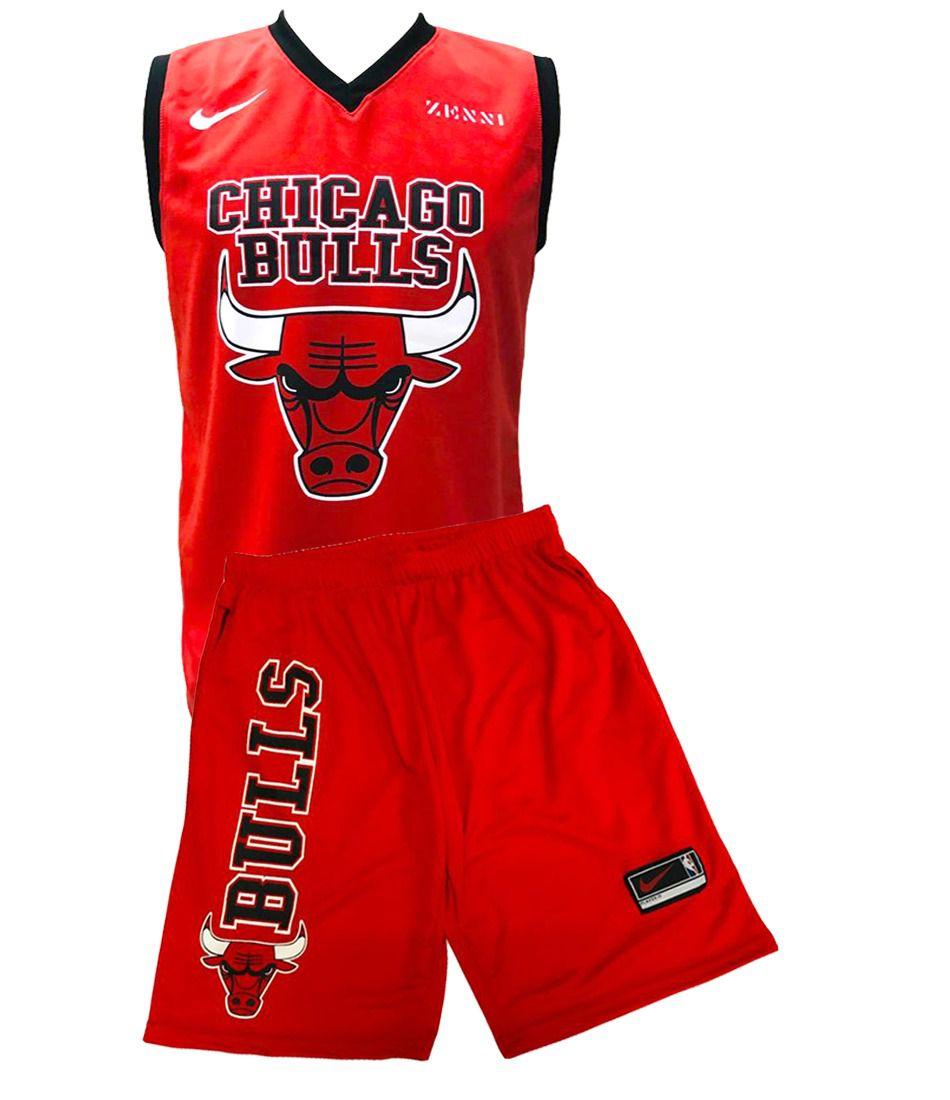 Conjunto Basquete Bulls vermelho