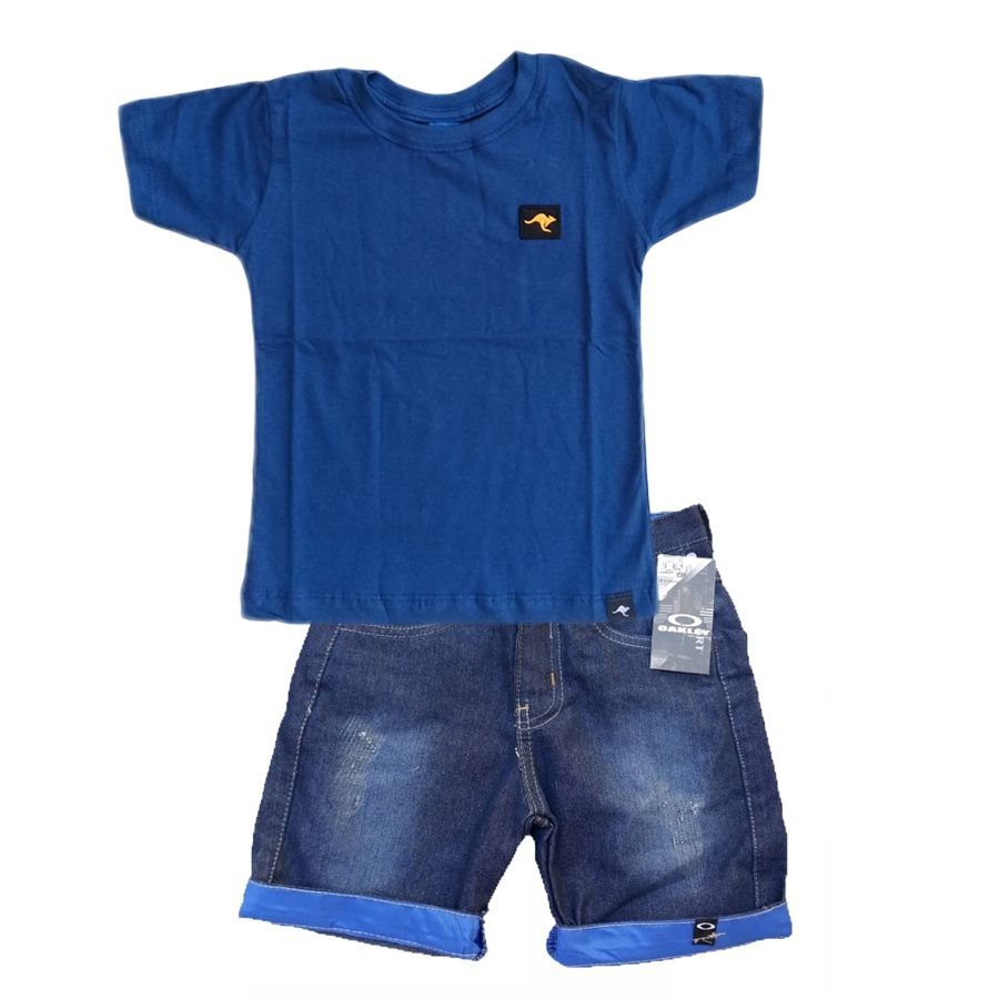 Conjunto  Camiseta Azul + bermuda Jeans