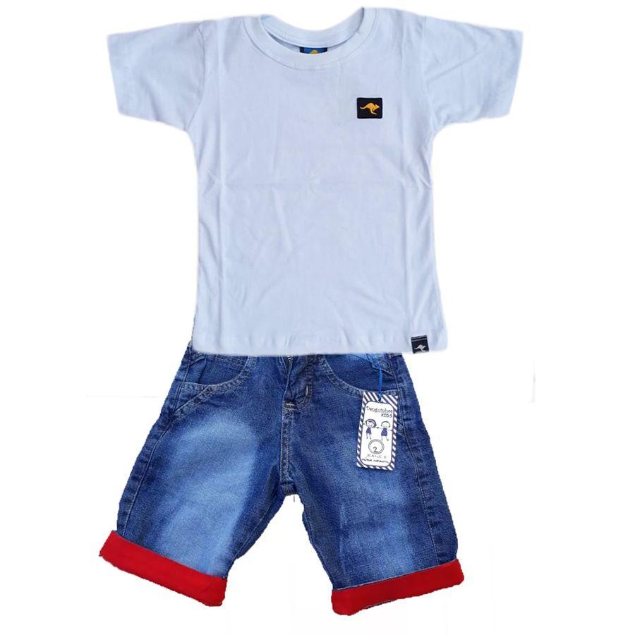 Conjunto Camiseta Branca + bermuda Jeans Vermelha