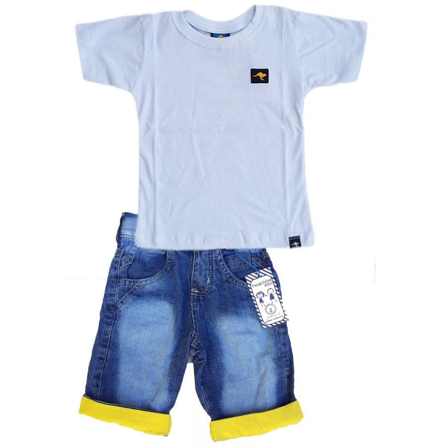 Conjunto  Camiseta Branco + Bermuda Jeans Amarela