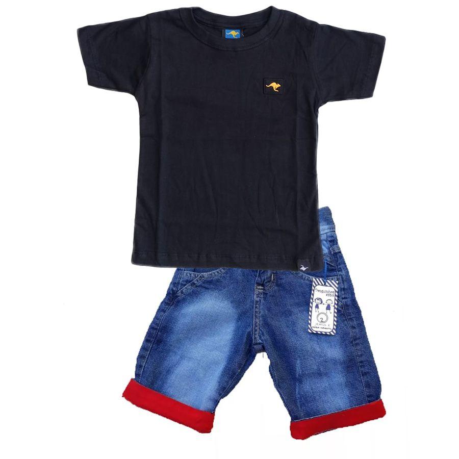 Conjunto Camiseta Preta + bermuda Vermelha