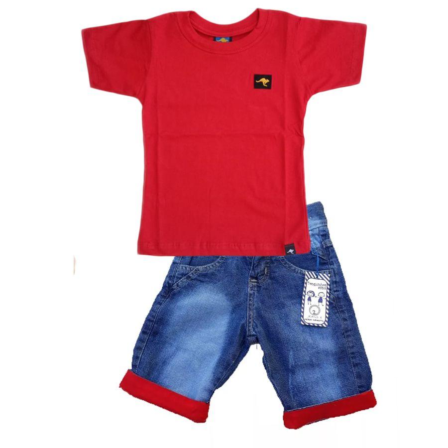 Conjunto Camiseta  Vermelha + bermuda Jeans