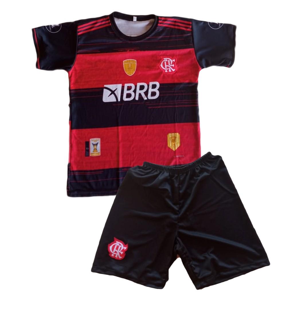 Conjunto Flamengo Vermelho e Preto