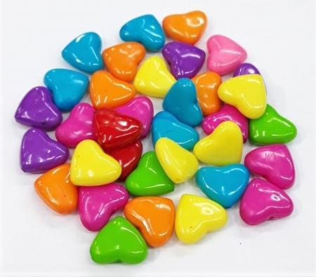 Contas Plastica Colorida - Coração Médio