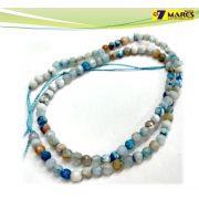 Pedra Agata Azul/Branco 4mm Facetada
