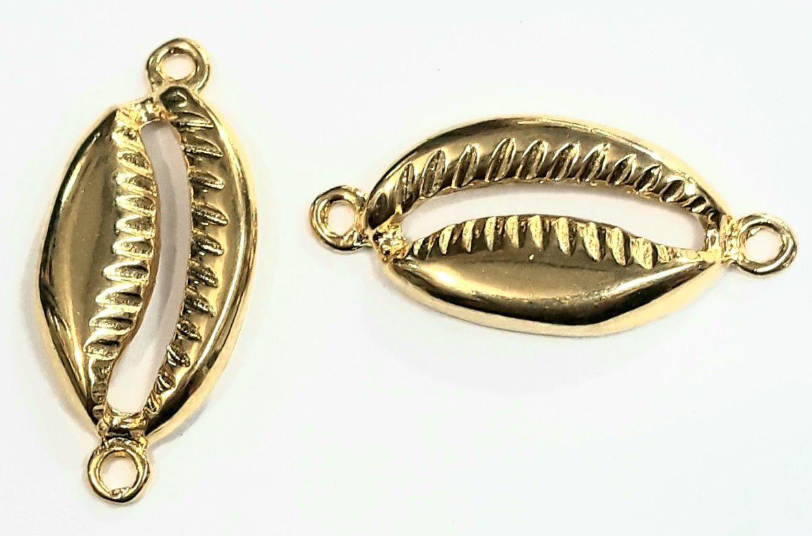 Búzio 2 Saídas Dourado (Grande) - BUZ15