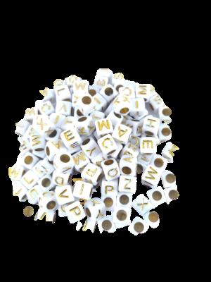 Conta Plástica Letras - Branco Dourado 20gr.