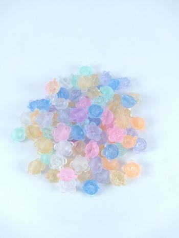 Conta Plastica Colorida - Rosas Transparente