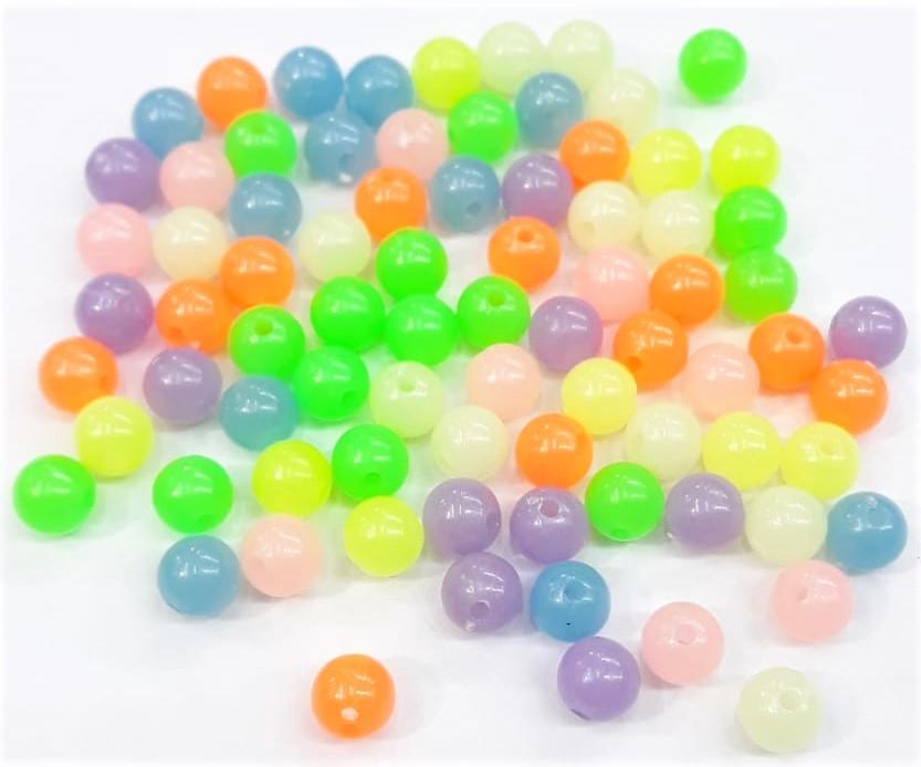 Contas Plastica -  Bola Neon claro