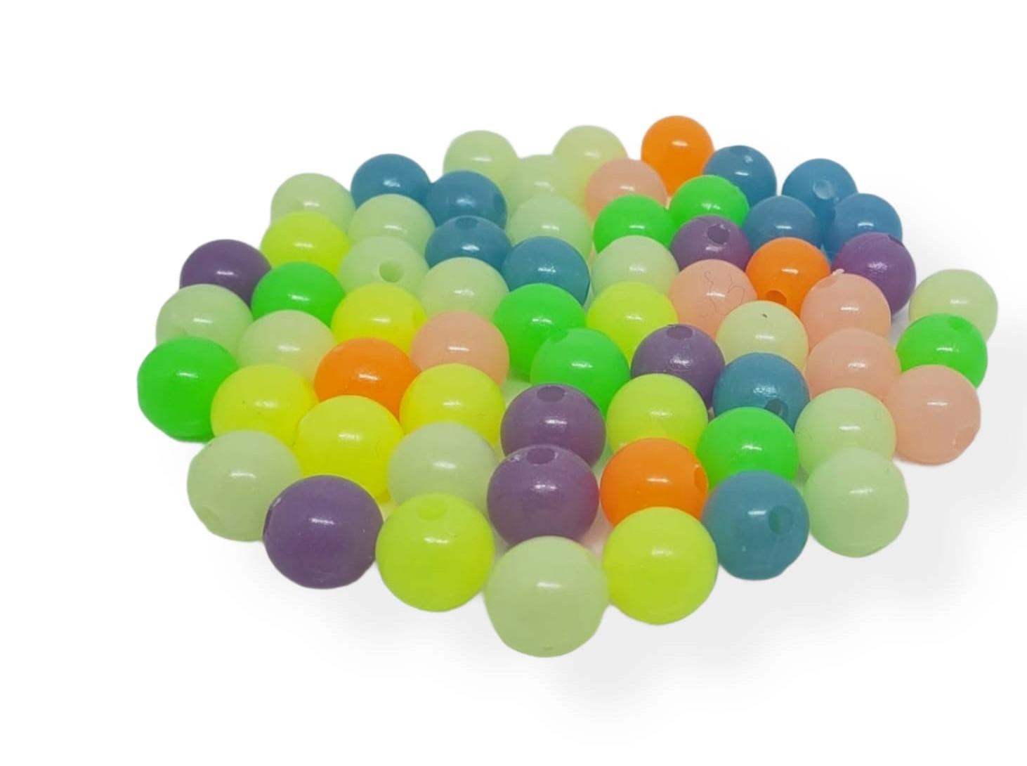 Contas Plastica Colorida -  Bola Neon claro