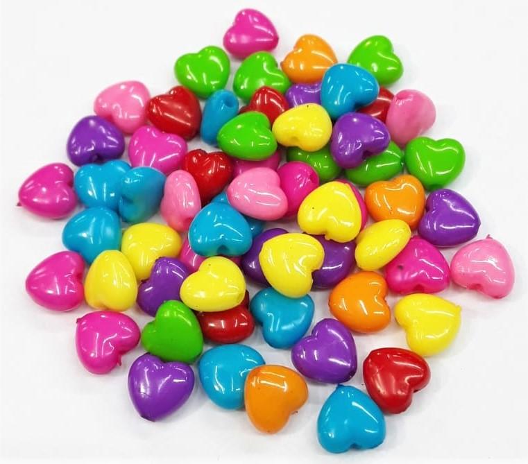 Contas Plastica Colorida  - Coração P