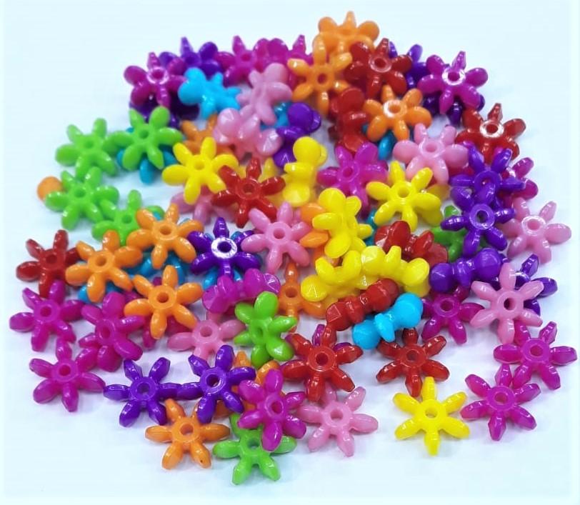 Contas Plastica Colorida - Flor com Pétalas