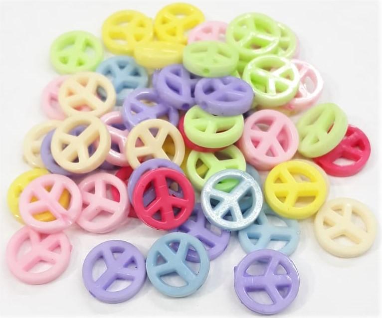 Contas Plastica - Simbolo da Paz