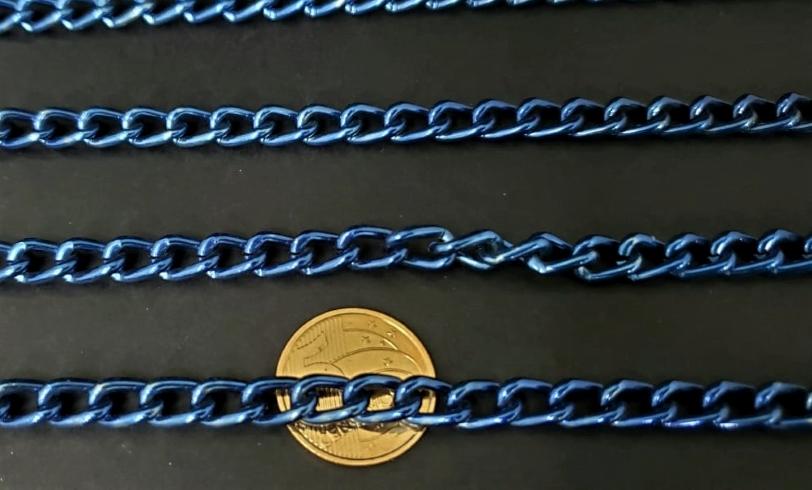 Correntes de Alumínio Coloridas  Azul ( selecione sua  metragem )