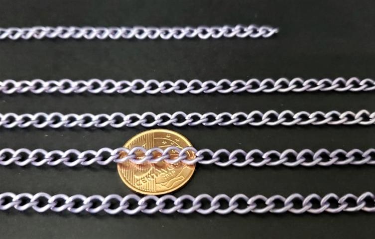 Correntes de Alumínio Coloridas  Lilás Fosco D ( selecione sua  metragem )