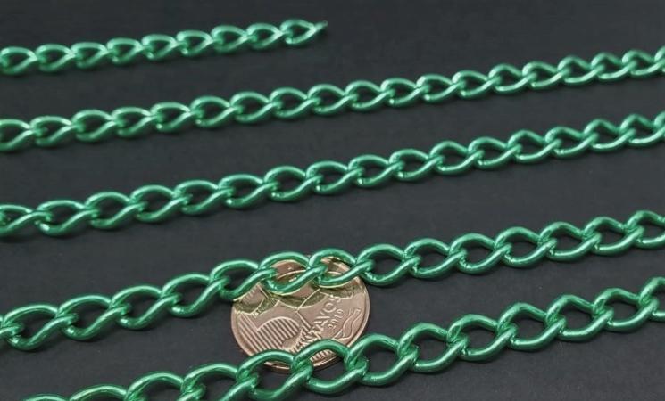 Correntes de Alumínio Coloridas  Verde ( selecione sua  metragem )