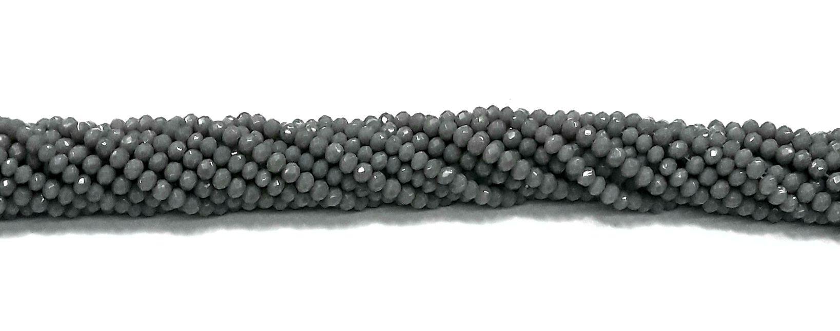 Fio de Cristal Achatado 4mm (Cinza) - FDC08