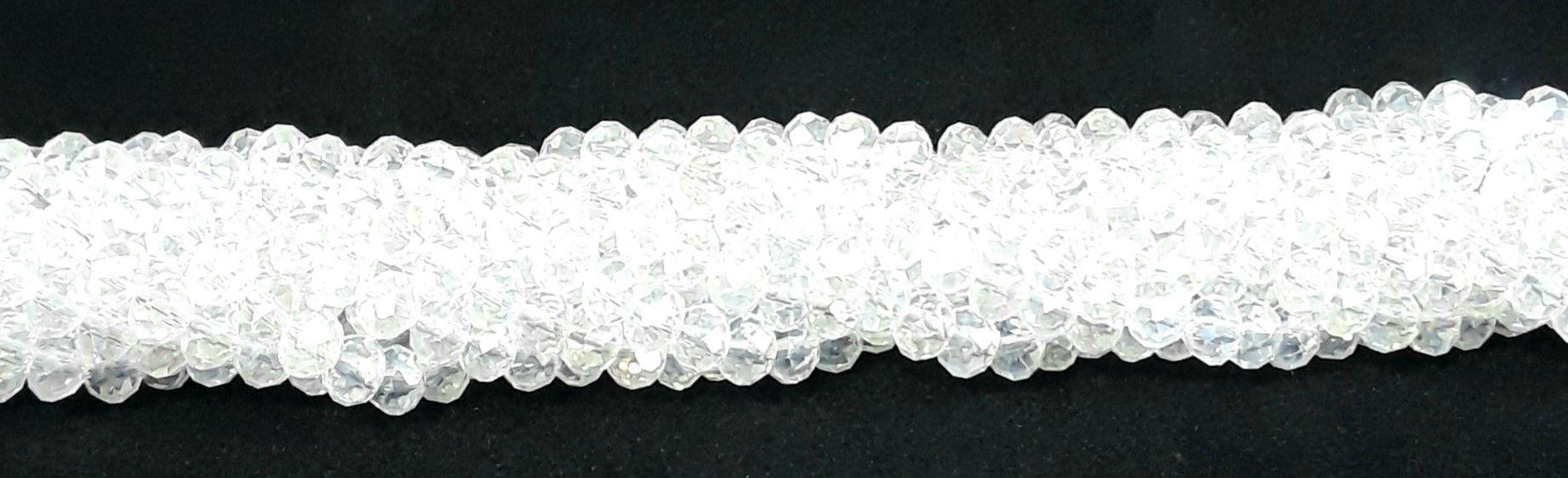 Fio de Cristal Achatado 6mm (Transparente AB) - FDC09
