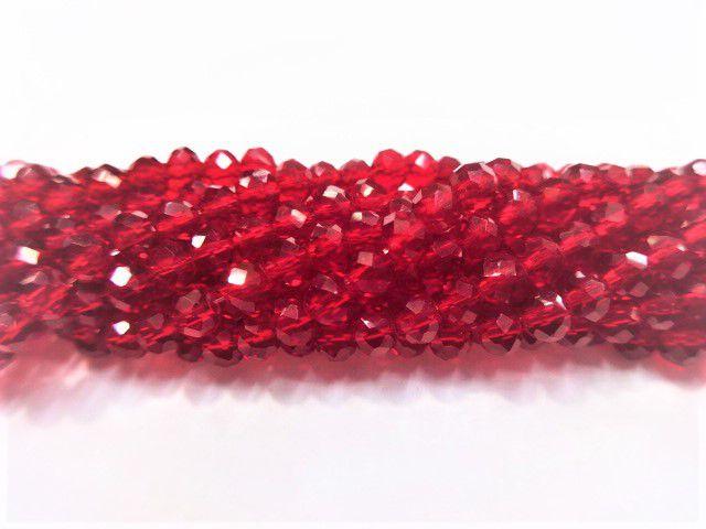 Fio de Cristal Achatado 4mm (Vermelho) - FDC15