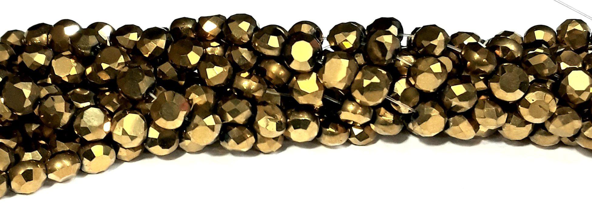 Fio de Cristal Achatado 8mm (Dourado) FDC13