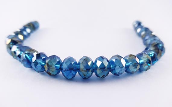 Fio de Cristal Achatado Azul Claro  AB 8 mm FDC51