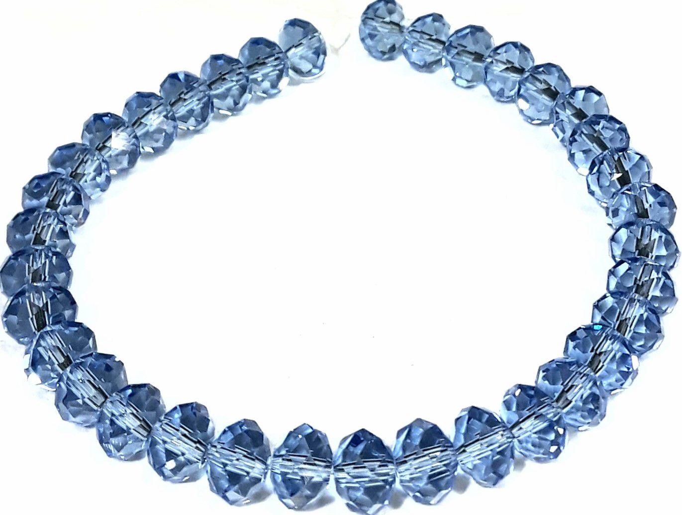Fio de Cristal Achatado (Azul Transparente) 8mm - FDC29