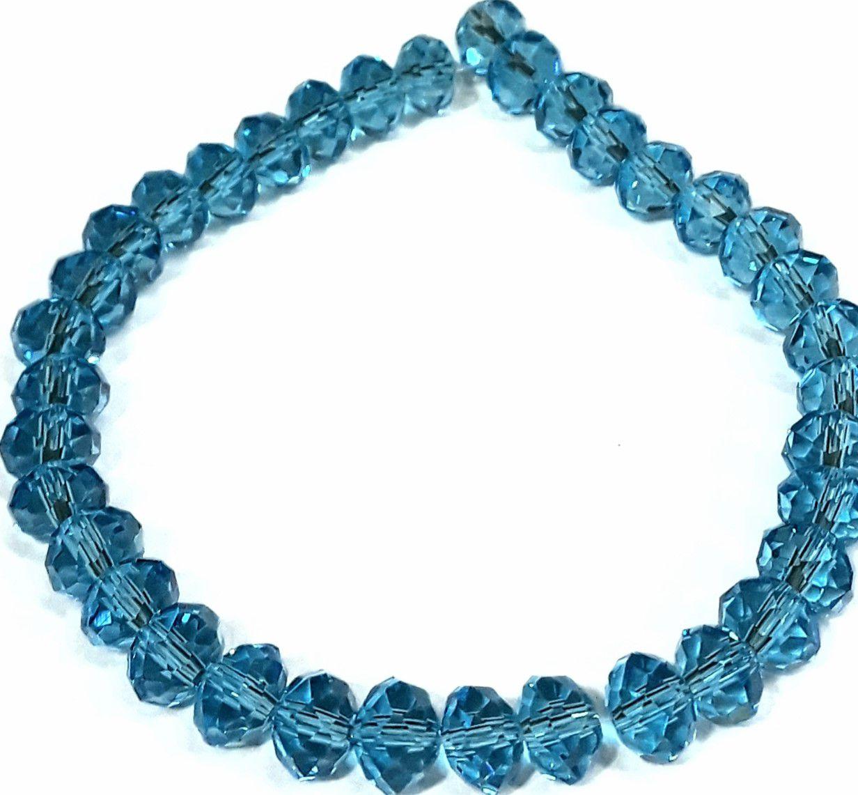 Fio de Cristal Achatado (Azul Turquesa Transparente) 8mm - FDC22