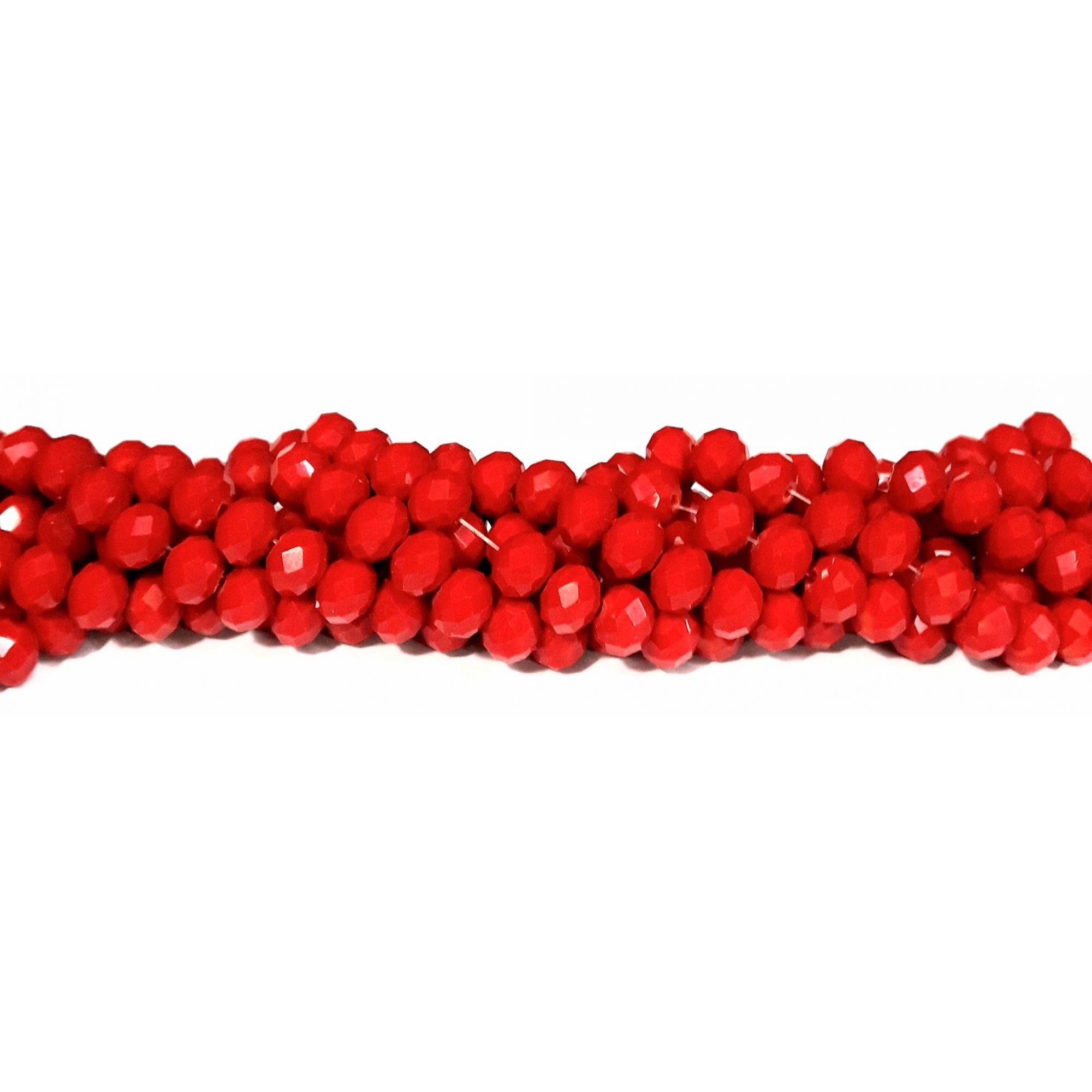 Fio de Cristal Achatado (Vermelho Leitosa) 8mm - FDC33