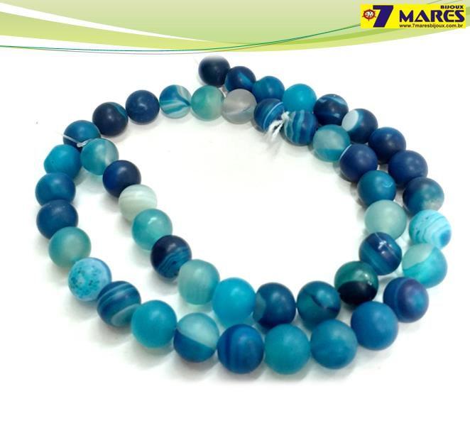Pedra Agata Azul Fosca 8mm