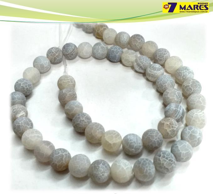 Pedra Agata Craquelada Cinza 8mm