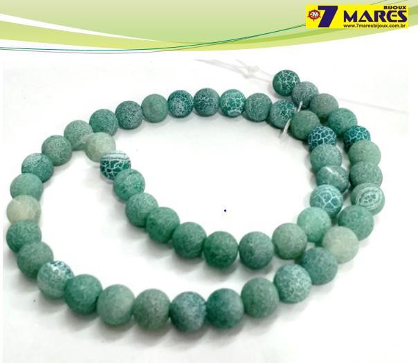 Pedra Agata Craquelada Verde 8mm