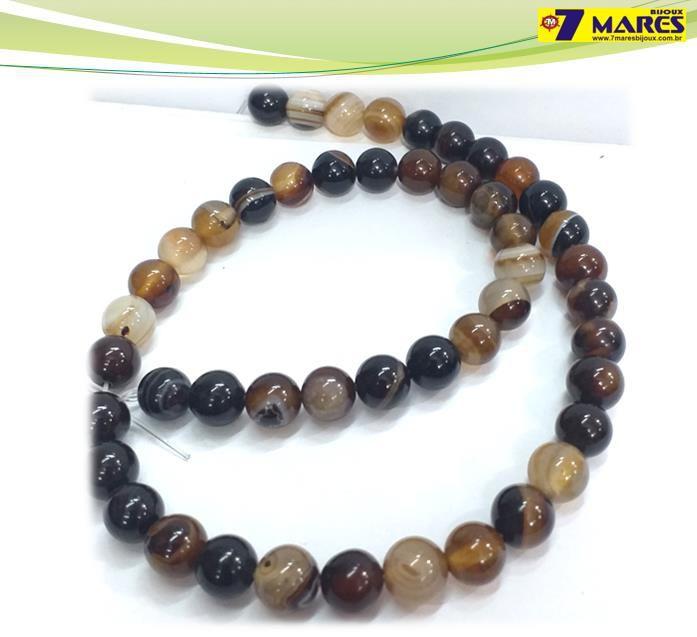 Pedra Agata Marrom 8mm