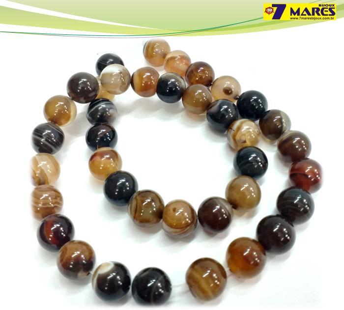 Pedra Agata Marrom Mesclada 10mm