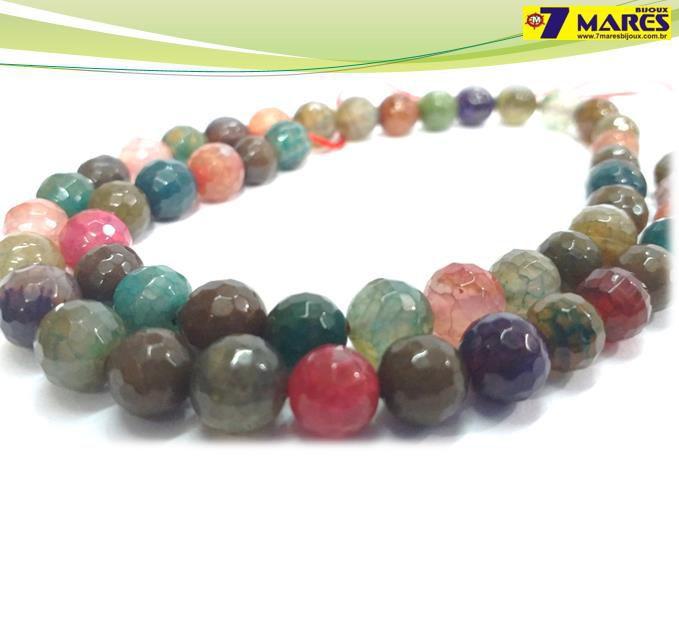 Pedra Agata Multicolor 8mm Facetada
