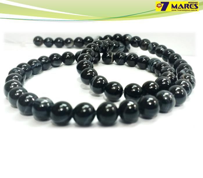 Pedra Agata Negra 6mm
