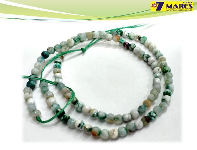 Pedra Agata Verde/Branca Facetada 4mm