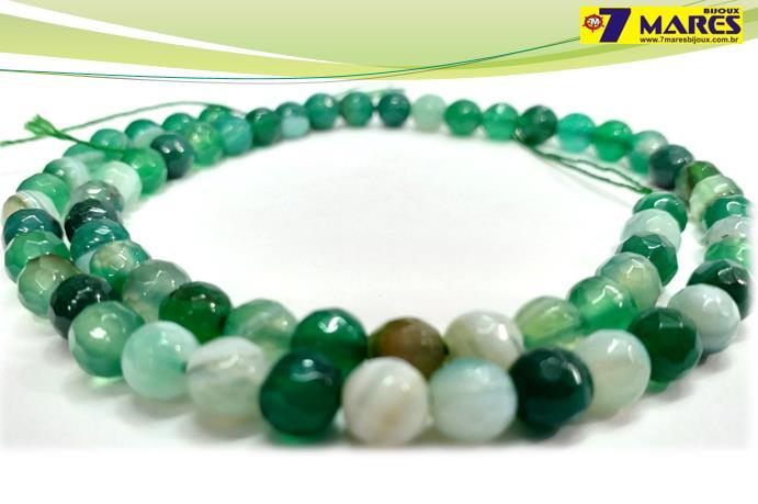Pedra Agata Verde Mesclada Facetada 6mm