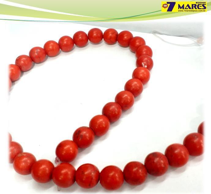 Pedra Howlita Vermelha 10mm