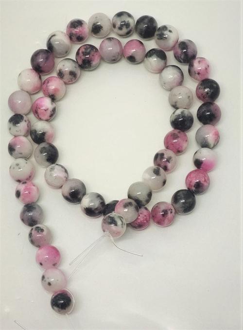 Pedra Jade Mesclada Pink end Black White  8mm