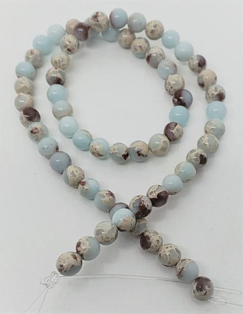 Pedra Jaspe imperial Azul Bebe  6mm