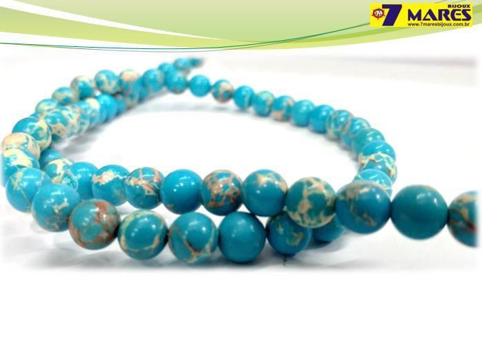 Pedra Jaspe Imperial Azul Turquesa 6mm