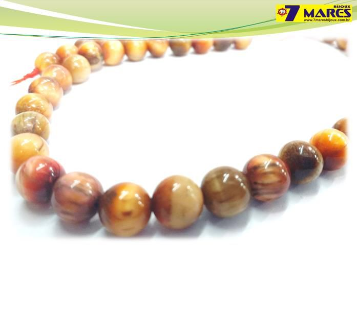 Pedra Olho de Tigre Dourado Mesclado 8mm