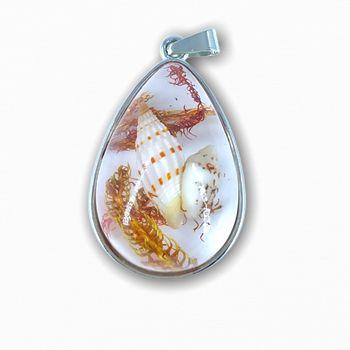 Pingente Resinado Gota Conchas do Mar Branco