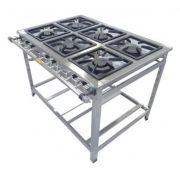 Fogão Industrial em Inox 6 Bocas 30x30  Cristal Aço