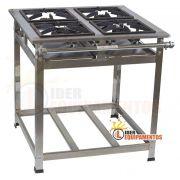 Fogão Industrial Inox 4 Bocas 30x30 Alta Pressão Cristal aço